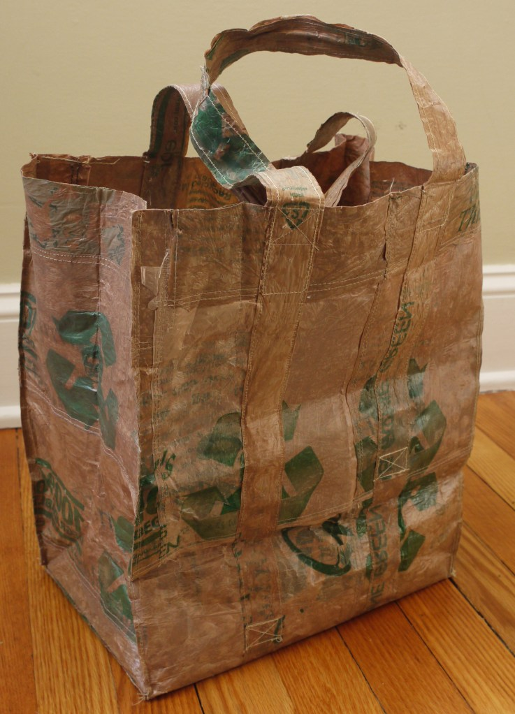This reusable grocery bag is made with plastic bags that were fused together with an iron!